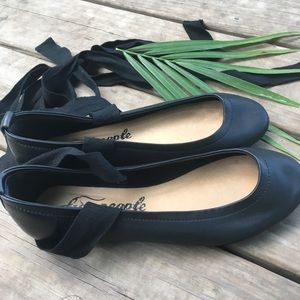 Anthropologie Free People lace up ballet flats. 7.